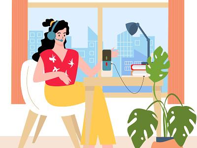 Work online podcast laptop microphone remote programmer worker online work adobe illustrator vector illustration