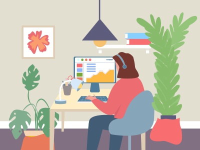 Work, study analitics work plants pc blue ui online characters character adobe illustrator vector illustration study