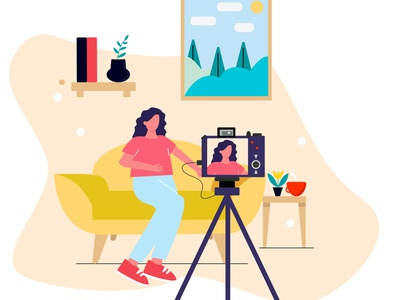 Blogger video vlog camera work flat online girl adobe illustrator vector illustration blogger