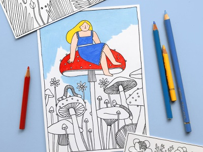 Color In Pack mushrooms colour kids activity colour in illustration illustration art design