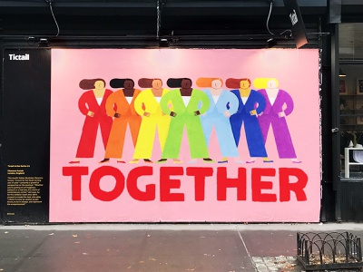 Mural for Tictail pink feminist mural design womenpower together tictail new york ny mural illustration art illustration