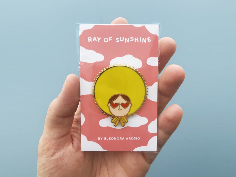 Ray Of Sunshine Pin vector fashion cute sun sunshine pin design pin design illustration art illustration