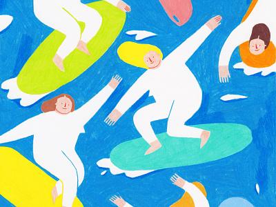 Beach Girls coloredpencils color water sea surfing surf beach design illustration art illustration