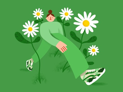 A Walk in the Park flowers illustration vector illustration vector art flowers vector design illustration