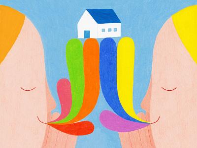 Illustration for Frankly Fluent Exhibition coloredpencils color home house london exhibition illustration art illustration