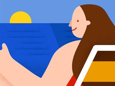 Summer Read editorial illustration beach eleonora arosio vectorart vector adobe ilustrator arosio eleonora illustration