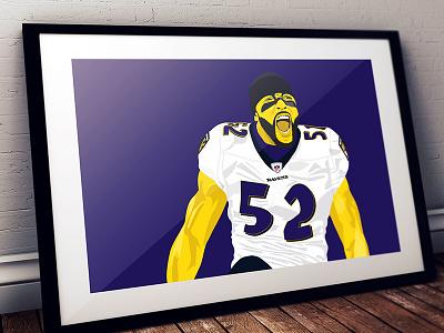 Ray Lewis ravens nfl football linebacker 52 hof goat illustration poster purple