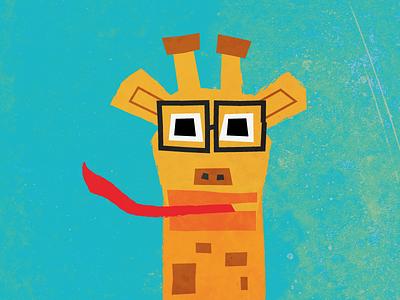 Hi I'm Raffe! textures glasses tongue animal giraffe