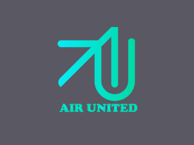 Air united vector value startup sign corners rounded recruitment modern mark lucid logotype logo board job grids design colors branding blue
