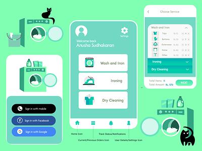 Laundry App UI illustration ui designs laundry service laundry app ux design ui designers ui design ui  ux uidesign