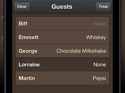Guest List guests orders menu ios iphone