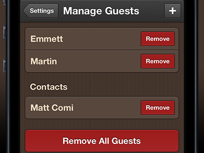 Managing Guests ios iphone coffee order guests manage settings