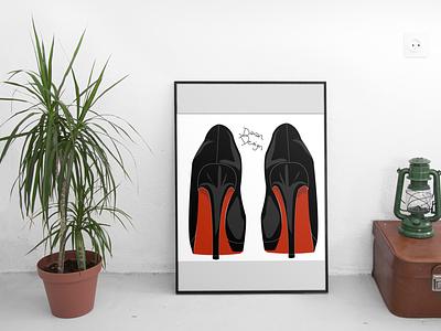Louboutin shoes vector illustration design