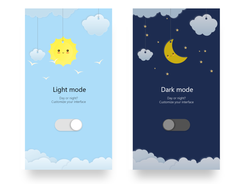 On/Off Switch - Daily UI 015 015 daily 100 challenge daily ui daily mobile design mobile app mobile app night day on off switch off on