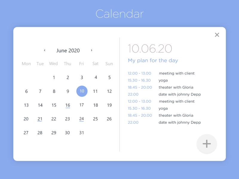 Calendar - Daily UI 038 038 calendar design daily 038 daily planner blue calendar 2020 calendar