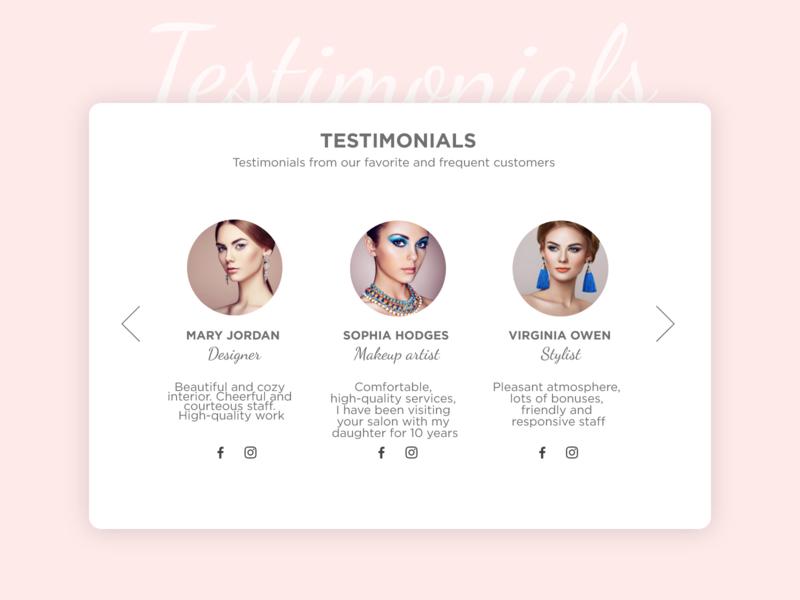 Testimonials - Daily UI 039 039 daily ui 039 beauty salon pink testimonial testimonials