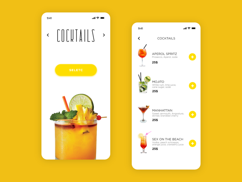 Food/Drink Menu - Daily UI 043 coctails 043 daily ui 043 43 daily ui 43 restaurant app drinks food app app drink menu food menu food and drink