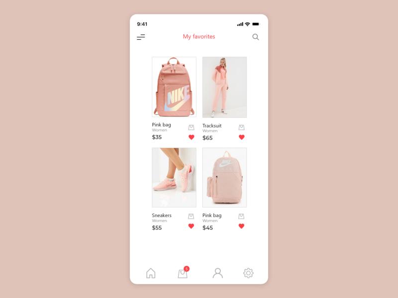 Favorites - Daily UI 044 pink daily ui 44 44 044 daily ui 044 fashion shopping app shop shopping favorites