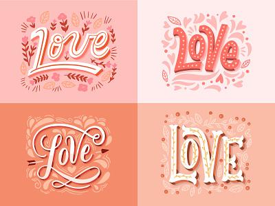 """Love"" lettering collection illustration art freepik typography type lettering artist lettering art lettering illustration design art"