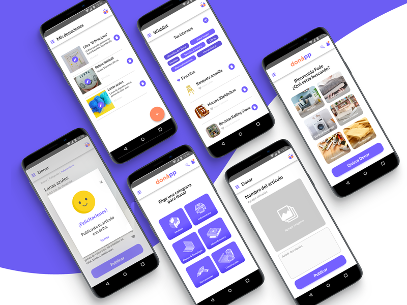 Multiple donapp screens visual designs violet simple screens designs mobile app ux visual design ui design