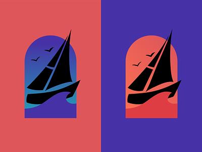 Sunset Sailing ocean sea sailboat sailing color illustrative design logo design logo vector design vector graphic design design