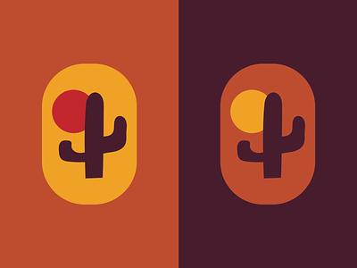 Desert Sunset plant logo cactus logo desert logo cactus desert illustration vector color logo design logo graphic design design
