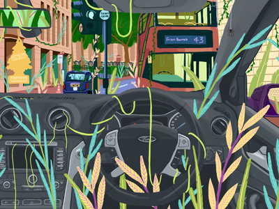 Jungle Journey plants car ford london tfl workfromhome psychedelic nature illustration nature art nature illustration digital illustration digital art