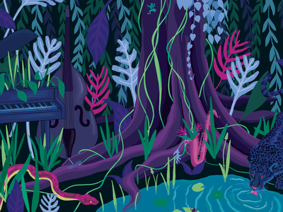 Jazzy Jungle wia music jazz wildlife jungle psychedelic nature illustration nature art nature illustration digital illustration digital art