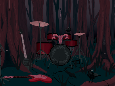 Grim Woodlands woods haunted scary drummer drums wood metal rock dark skulls skull art skull woodlands psychedelic nature illustration nature art nature illustration digital illustration digital art