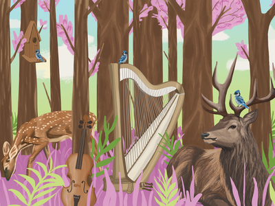 Classical Garden garden violin harp pink bambi deers deer classical music classical music nature illustration nature art nature illustration digital illustration digital art