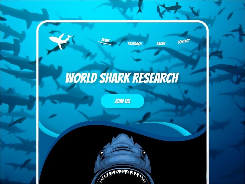 Shark Research page shark shark web shark logo ui  ux dynamic illustration new concept modern ui website