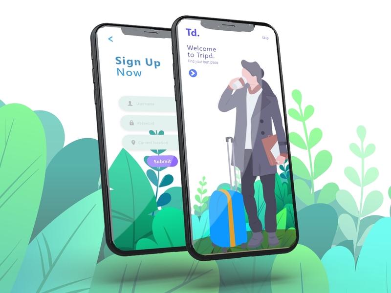 Travelling App UI Design ui app design welcome ui app mockup login ui app signup traveling travel app mobile design mobile ui ui  ux new concept