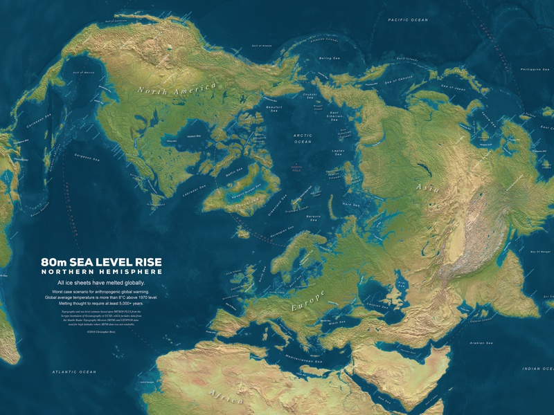 80m Sea Level Rise Northern Hemisphere globalwarming sea level map sciart science