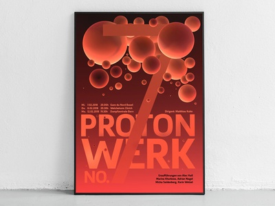 protonwerk no. 7 3d atomic music gig poster typography atom contemporary electron proton