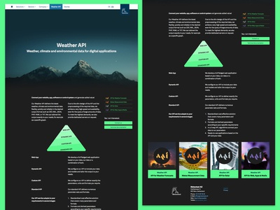 Product Page Weather API product page landing page web ux ui gui layout webdesign