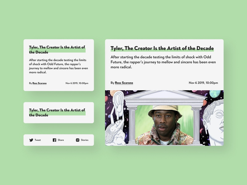 Daily UI 035 / Blog Post blog magazine article share app newsfeed dashboard cards uidesign tyler the creator news blog post design ui dailyui035 dailyuichallenge dailyui