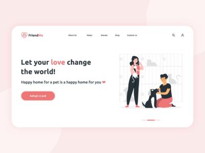 Friend Me app design softcolors icons colors freelancer follow share like explore adoption petwebsite graphic design hero website web design ui designer ui design ui uiux