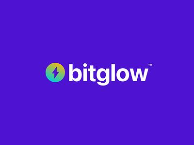 bitglow logo concept bitglow glow bit crypto bitcoin logo