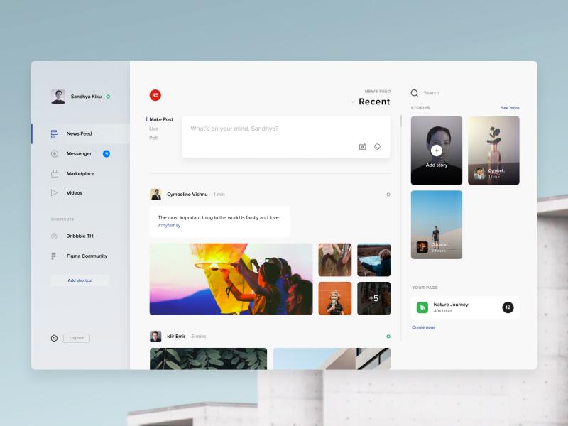 Facebook Desktop App by doonnn for Orizon on Dribbble