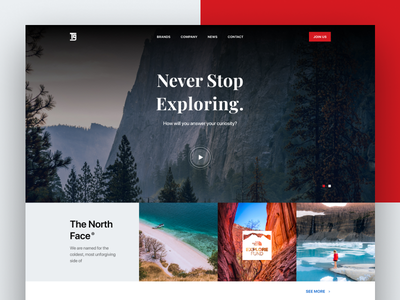The North Face's Brand page landing page thenorthface outdoor simple design ui minimal clean concept