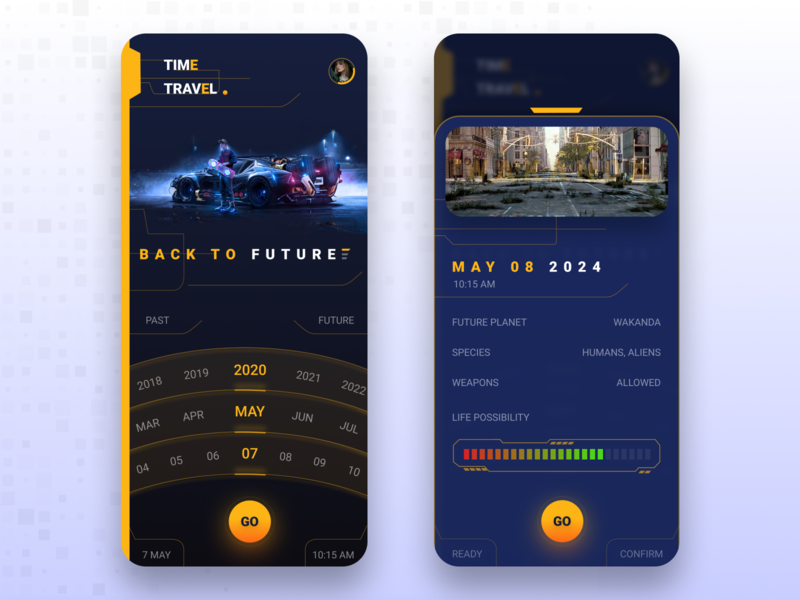 Time Travel App design apple ui android app design uidesign creative mobile app design technology ui time travel time mobile design mobile uiux mobile app mobile ui