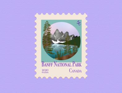 Banff National Park banff artwork art icon illustrations stamp design stamp illustrator illustration art illustration design