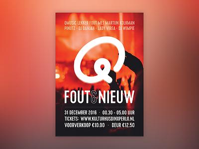 Posterdesign for Fout & Nieuw party dance music qmusic marketing illustrator design poster flyer