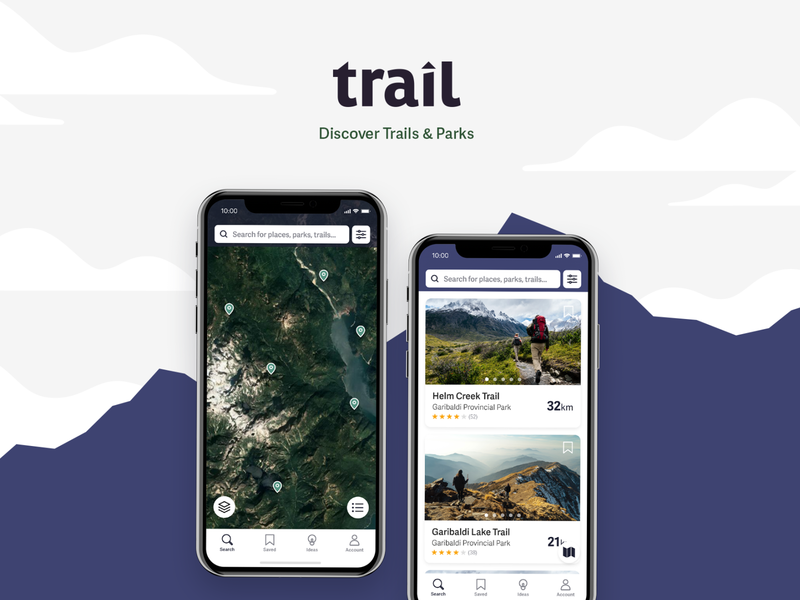 Trail - Discover Trails & Parks map trails uxui ux design app design outdoors nature hiking ux research ui ux