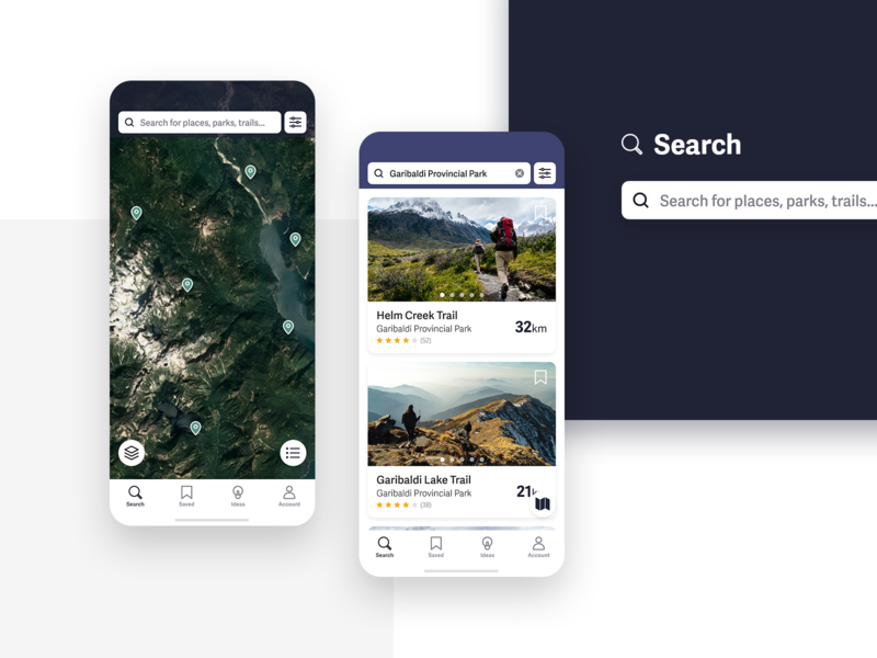 Trail - Discover Trails & Parks - Search screens userinterface ux ui trails search outdoors nature map hiking environment appdesign app
