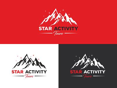 Logo design stars rough font mountain design logo