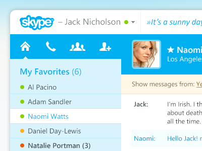 Skype main chat window design concept