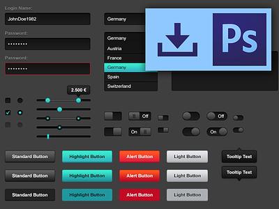 FREE PSD: Web UI Kit – Dark Shades ui interface free psd ui kit website webdesign download form buttons dark photoshop