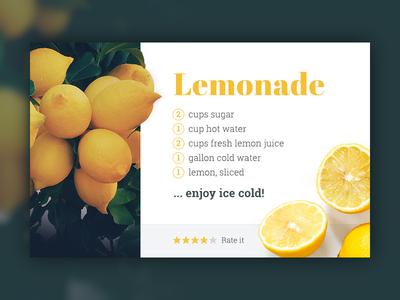 Recipe Card – Lemonade webdesign image blurry background ux ui google fonts typography photo lemonade card recipe