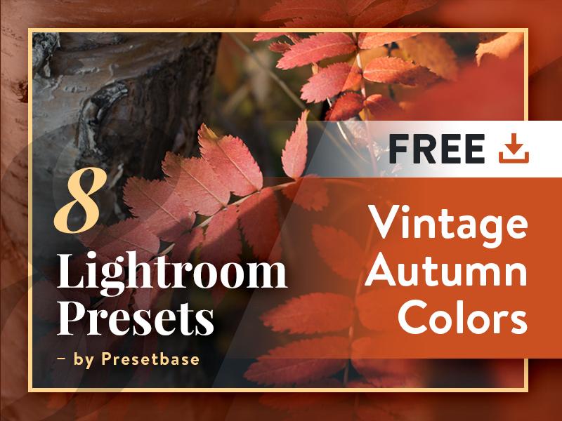 8 Free Lightroom Presets - Vintage Autumn Colors typography banner ui design vintage photography image cover presets lightroom